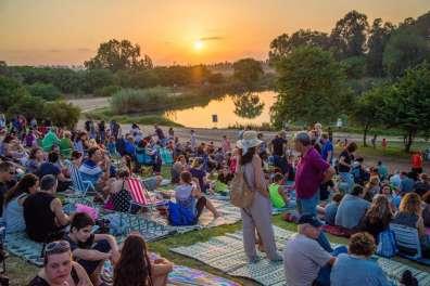צופים בהופעה בפארק אפק מול האגם