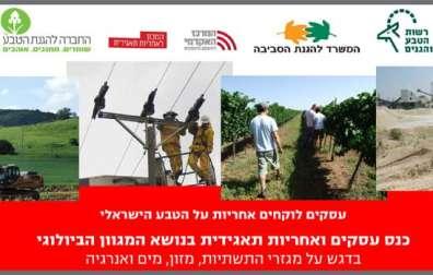 עסקים לוקחים אחריות על הטבע הישראלי - כנס עסקים ואחריות תאגידית בנושא המגוון הביולוגי, בדגש על מגזרי התשתיות, מזון, מים ואנרגיה