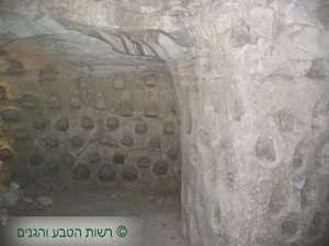 חדר חצוב בקירטון מוגן בגג נארי - גן לאומי בית גוברין