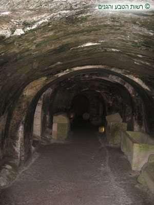 פנים המערה החצובה בסלע קירטון