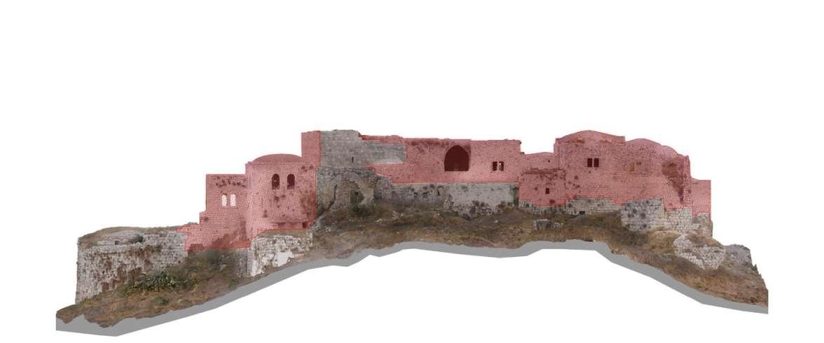 החזית הדרומית של מגדל צדק – שרידים צלבניים ועליהם שרידים עות'מאניים. הדמיה: דיוד צל