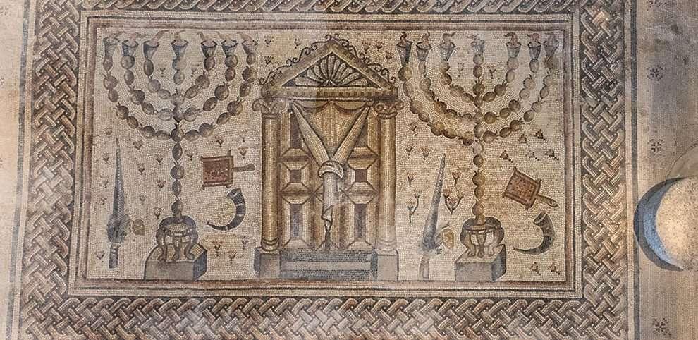 פרט מפסיפס  בית הכנסת בגן לאומי חמת טבריה צילם שי אשכנזי