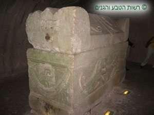 ארון קבורה המעוטר בעיטורים מעולם החי